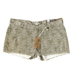 NWT Madewell Polka Dot Short Raw Hem Gold Cream 31